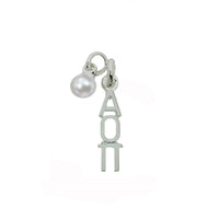 Alpha Omicron Pi Sorority Lavalier Necklace with Pearl