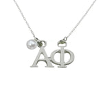 Alpha Phi Floating Sorority Lavalier Necklace with Pearl