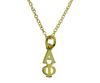 Alpha Phi Greek Sorority Lavalier Drop Charm Pendant Necklace Gold Filled