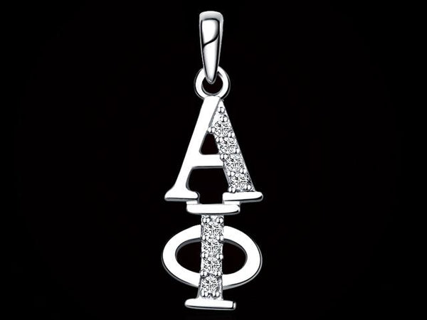 Alpha Phi Synthetic Diamond Sorority Lavalier Necklace Sterling Silver - DKGifts.com