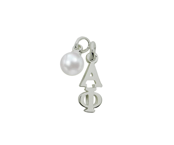 Alpha Phi with Pearl Greek Sorority Lavalier Pendant Drop Charm