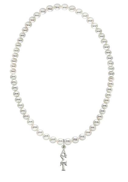 Alpha Sigma Tau Stretch Pearl Sorority Necklace Greek Sorority Pearl Necklace