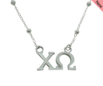 Chi Omega Beaded Floating Necklace Sorority Jewelry Necklace