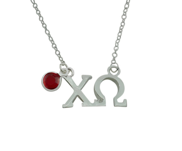 Chi Omega Floating Sorority Lavalier Necklace with Gemstone