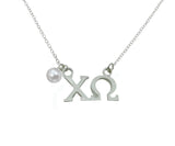 Chi Omega Floating Sorority Lavalier Necklace with Pearl