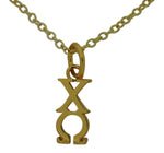 Chi Omega Greek Sorority Lavalier Drop Charm Pendant Necklace Gold Filled
