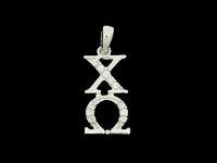 Chi Omega Synthetic Diamond Sorority Lavalier Necklace Sterling Silver - DKGifts.com