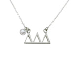 Tri Delta Delta Delta Floating Sorority Lavalier Necklace with Pearl