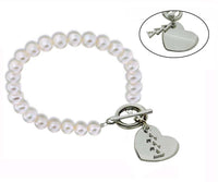 Tri Delta Delta Delta Pearl Sorority Bracelet with Heart on Toggle Clasp