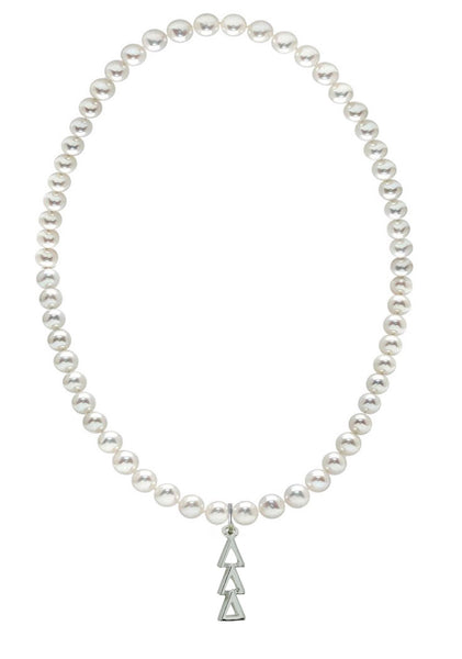 Tri Delta Delta Delta Stretch Pearl Sorority Necklace Greek Sorority Pearl Necklace