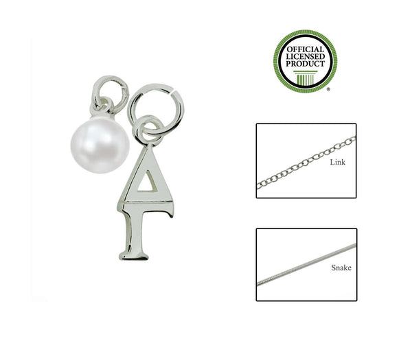 Delta Gamma Sorority Lavalier Necklace with Pearl - DKGifts.com