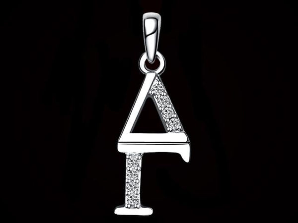 Delta Gamma Synthetic Diamond Sorority Lavalier Necklace Sterling Silver - DKGifts.com