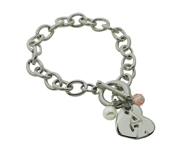 Delta Zeta Sorority Bracelet with Heart, Swarovski Crystal and Pearl - DKGifts.com