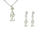 Matching Delta Zeta Sorority Lavalier Charm Drop Necklace and Earring Set