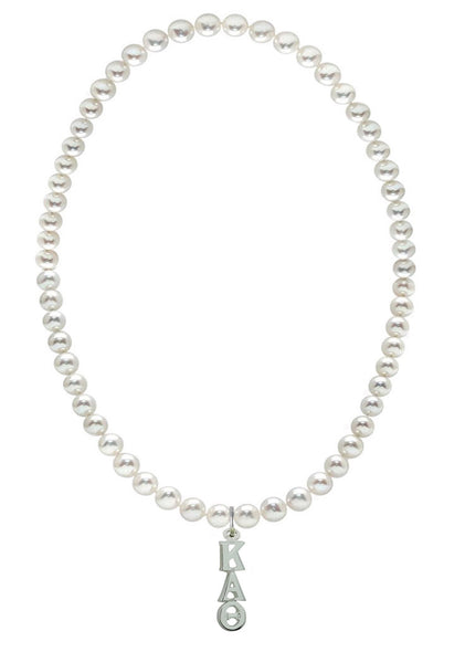 Kappa Alpha Theta Stretch Pearl Sorority Necklace Greek Sorority Pearl Necklace