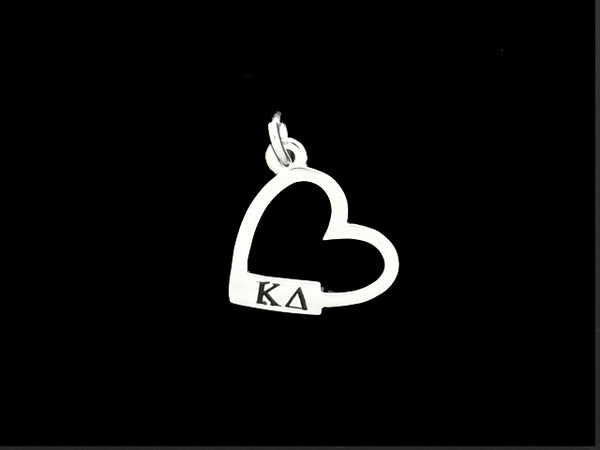 Kappa Delta Open Heart Greek Sorority Lavalier Charm Pendant Necklace