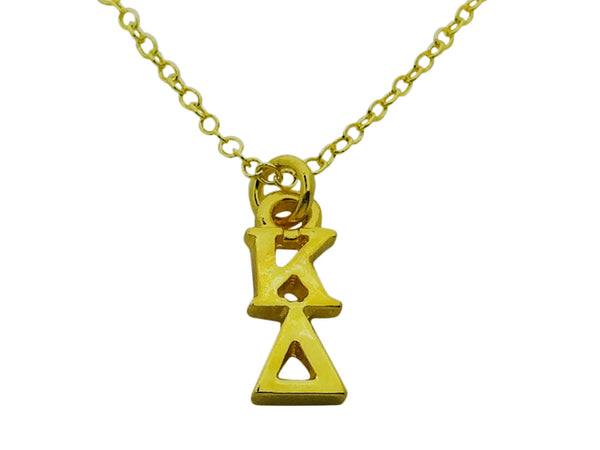 Kappa Delta Greek Sorority Lavalier Drop Charm Pendant Necklace Gold Filled