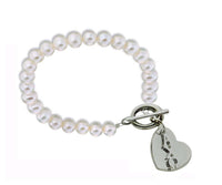 Alpha Chi Omega Pearl Sorority Bracelet with Heart on Toggle Clasp