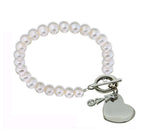 Kappa Alpha Theta Pearl Sorority Bracelet with Heart on Toggle Clasp