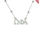 Omega Phi Alpha Beaded Floating Necklace Sorority Jewelry Necklace
