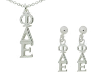 Phi Delta Epsilon Matching Greek Sorority Lavalier Necklace and Earring Set