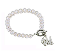 Phi Mu Pearl Sorority Bracelet with Toggle Clasp