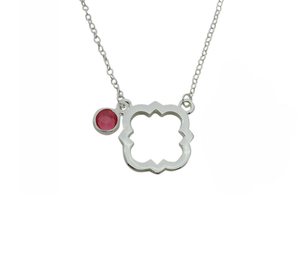 Phi Mu Quatrefoil Floating Sorority Lavalier Necklace with Gemstone