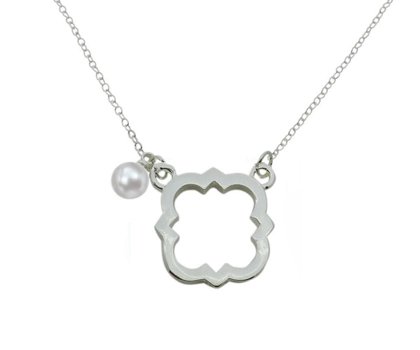 Phi Mu Quatrefoil Floating Sorority Lavalier Necklace with Pearl