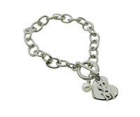Phi Mu Sorority Bracelet with Heart and Pearl Dangle - DKGifts.com