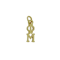Phi Mu Greek Sorority Lavalier Drop Charm Pendant Necklace Gold Filled