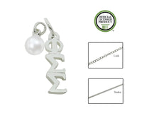 Phi Sigma Sigma Sorority Lavalier Necklace with Pearl - DKGifts.com