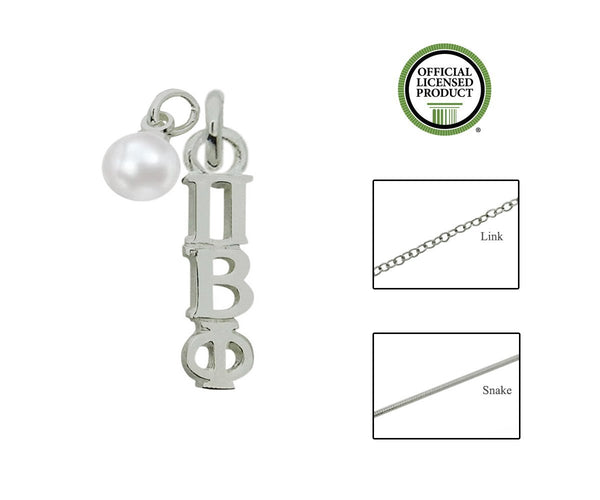 Phi Beta Phi Sorority Lavalier Necklace with Pearl - DKGifts.com