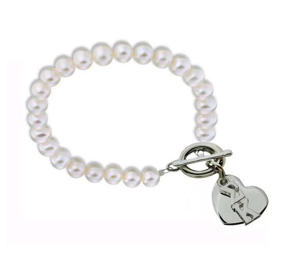 Sigma Kappa Pearl Sorority Bracelet with Heart on Toggle Clasp
