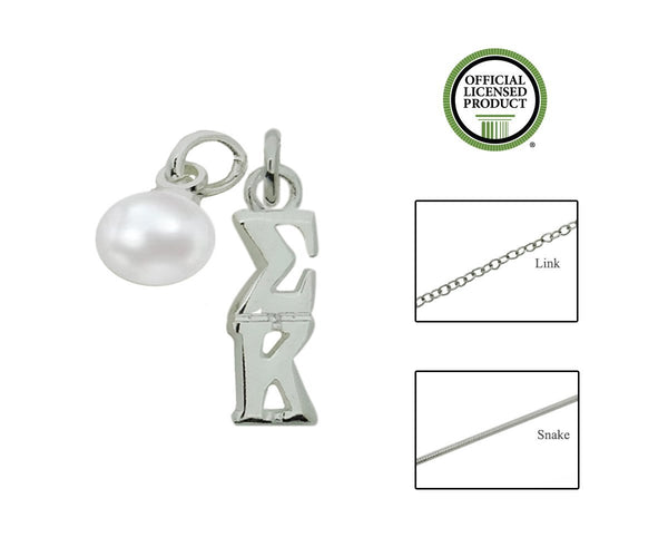 Sigma Kappa Sorority Lavalier Necklace with Pearl - DKGifts.com