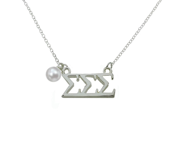 Tri Sigma Sigma Sigma Floating Sorority Lavalier Necklace with Pearl