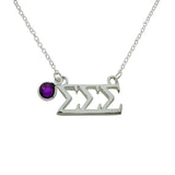 Tri Sigma Sigma Sigma Floating Sorority Lavalier Necklace with Gemstone - DKGifts.com