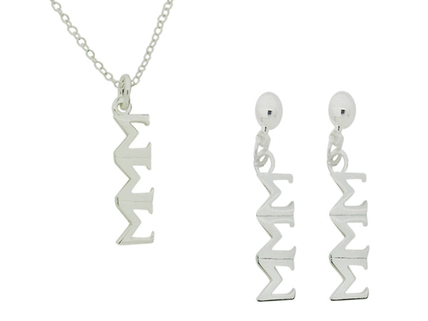 Tri Sigma Sigma Sigma Matching Greek Sorority Lavalier Necklace and Earring Set