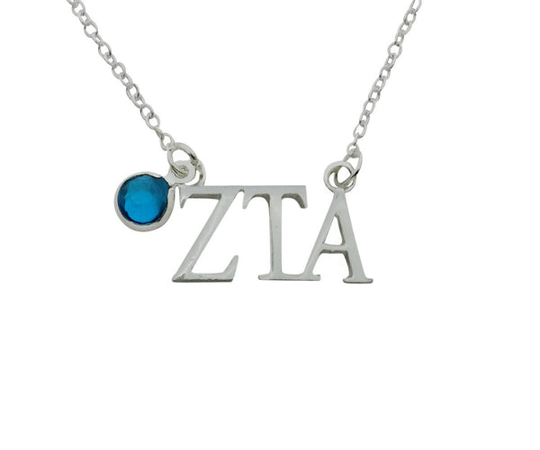 Zeta Tau Alpha Floating Sorority Lavalier Necklace with Gemstone