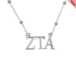 Zeta Tau Alpha Beaded Floating Necklace Sorority Jewelry Necklace