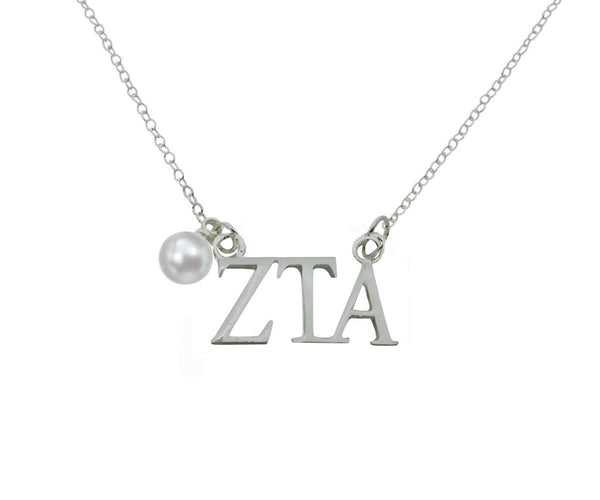 Zeta Tau Alpha Floating Sorority Lavalier Necklace with Pearl