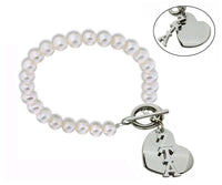 Zeta Tau Alpha Pearl Sorority Bracelet with Heart on Toggle Clasp
