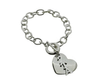 Zeta Tau Alpha Rolo Sorority Bracelet with Heart on Toggle Clasp - DKGifts.com