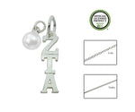 Zeta Tau Alpha Sorority Lavalier Necklace with Pearl - DKGifts.com