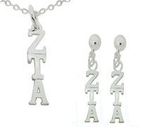 Zeta Tau Alpha Matching Greek Sorority Lavalier Necklace and Earring Set