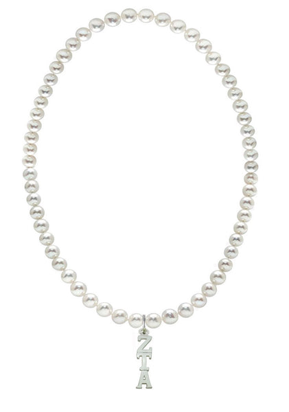 Zeta Tau Alpha Stretch Pearl Sorority Necklace Greek Sorority Pearl Necklace