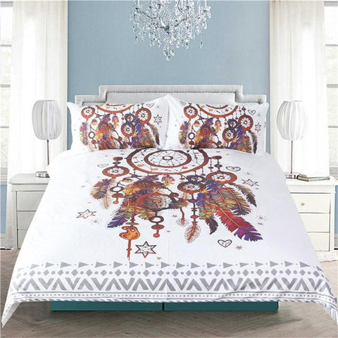 watercolor bedding queen size, king size, full size, dreamcatcher feathers, Dreamcatcher, bohemian, bedding sets, bedding cover set, bed sets