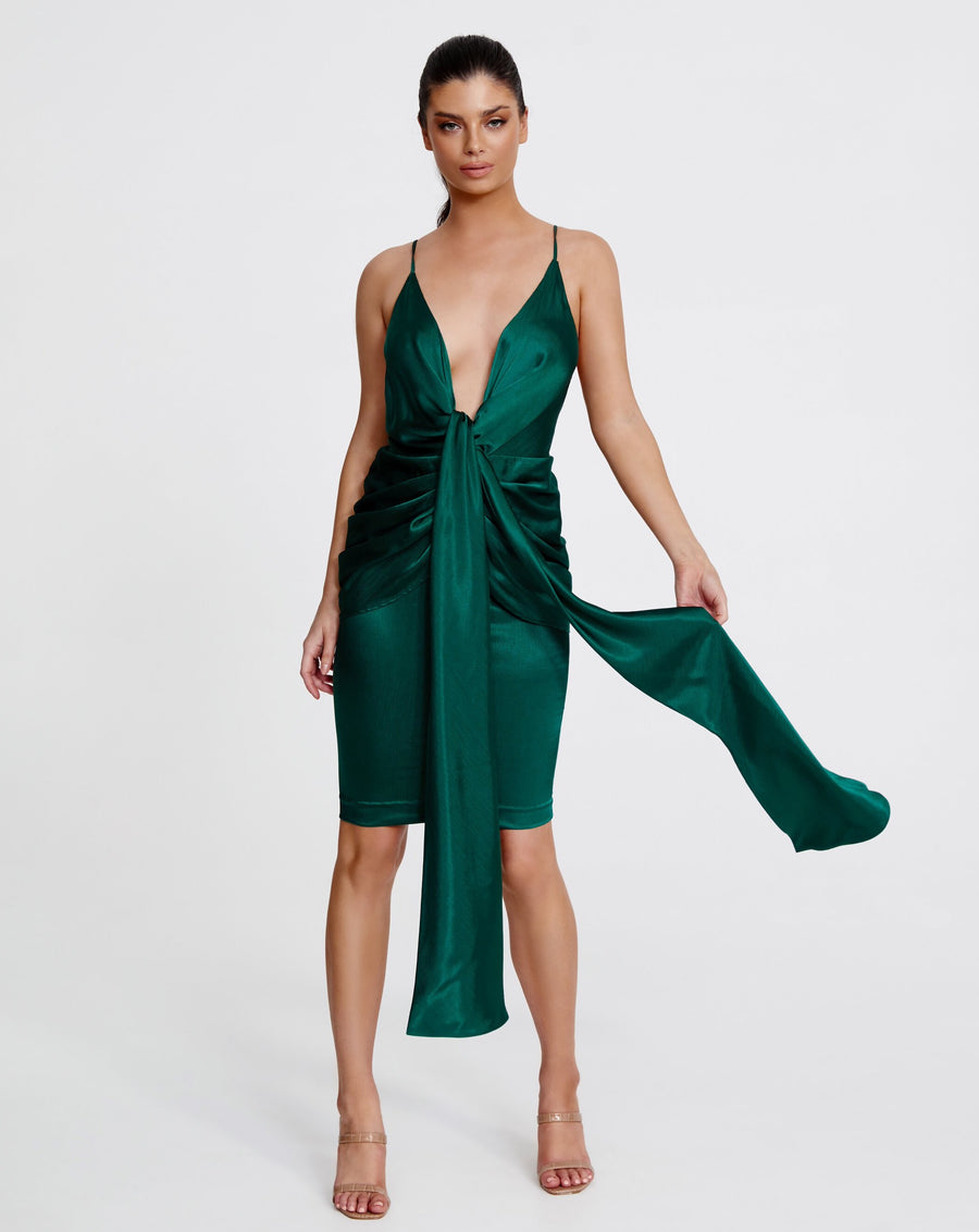 ZARA MIDI DRESS | DARK GREEN