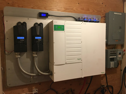 off grid cabin electrical room