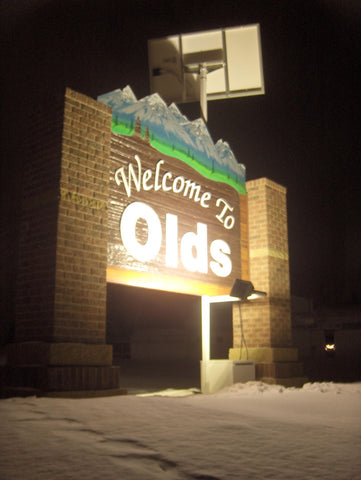 Welcome to Olds city sign let at night by solar system using Watt-a-Light LED lighting