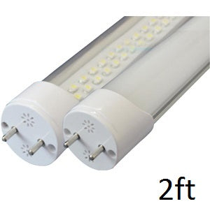 Two Watt-a-Light T8 LED tube light ends with 2 pins on each.  9 Watt 24 volt DC 2 foot T8 LED Tube